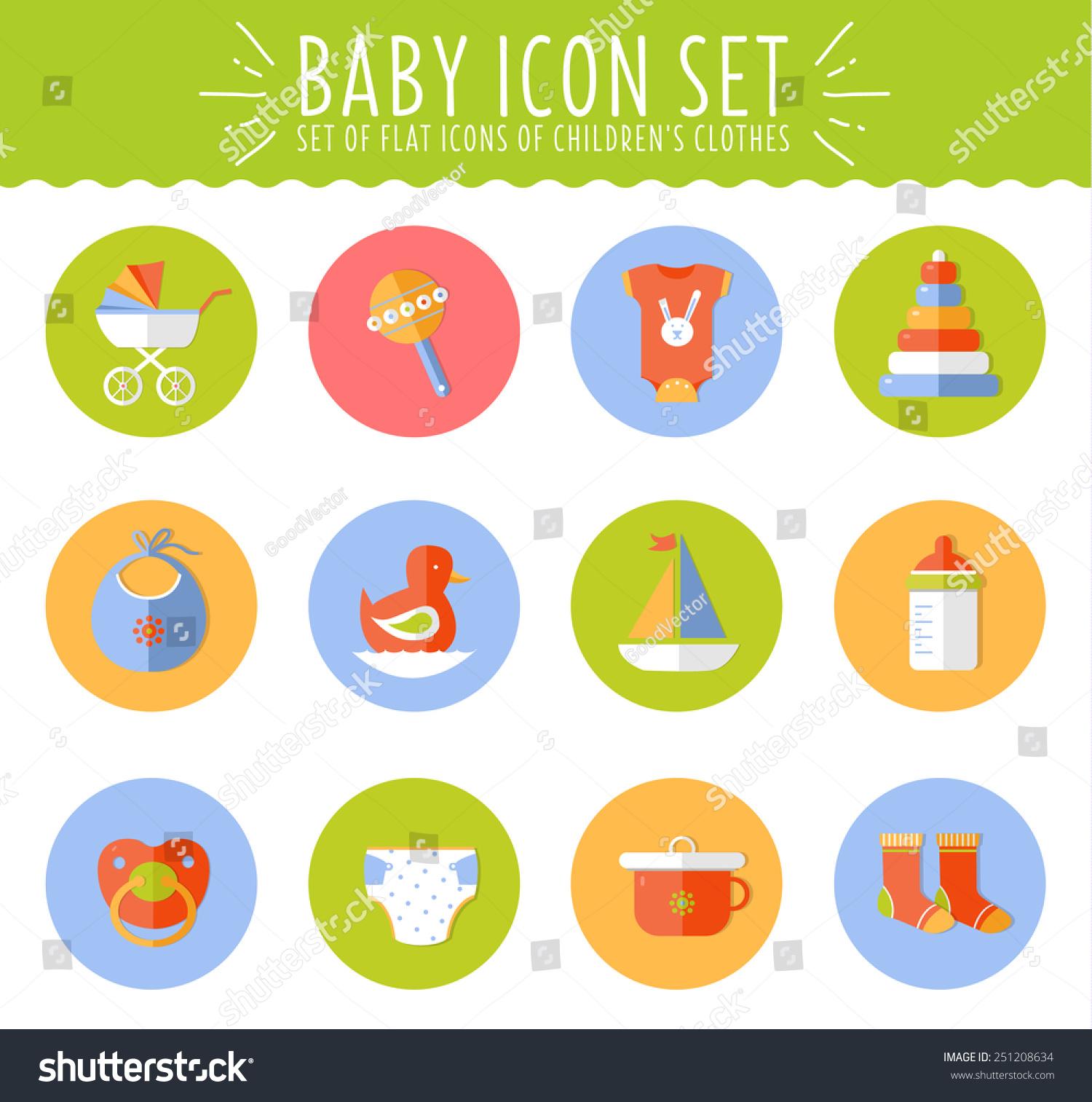 矢量概念平面设计的可爱宝宝组合图标-符号/标志,其它