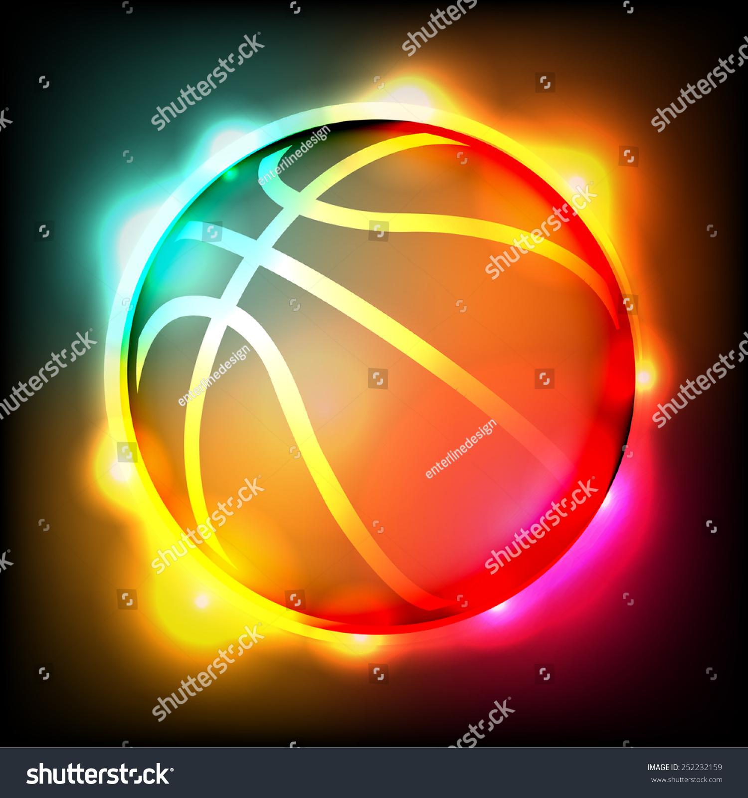 一个色彩鲜艳的插图发光的篮球.向量eps 10.