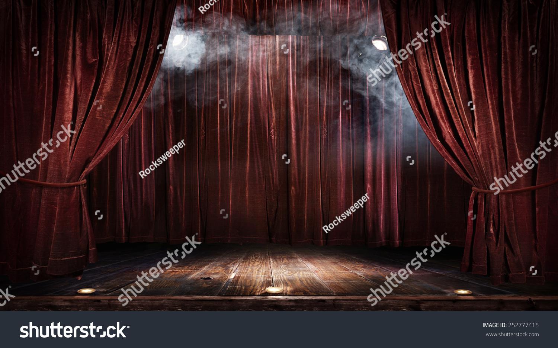 魔术剧院舞台上的红色窗帘聚光灯-背景/素材,复古风格