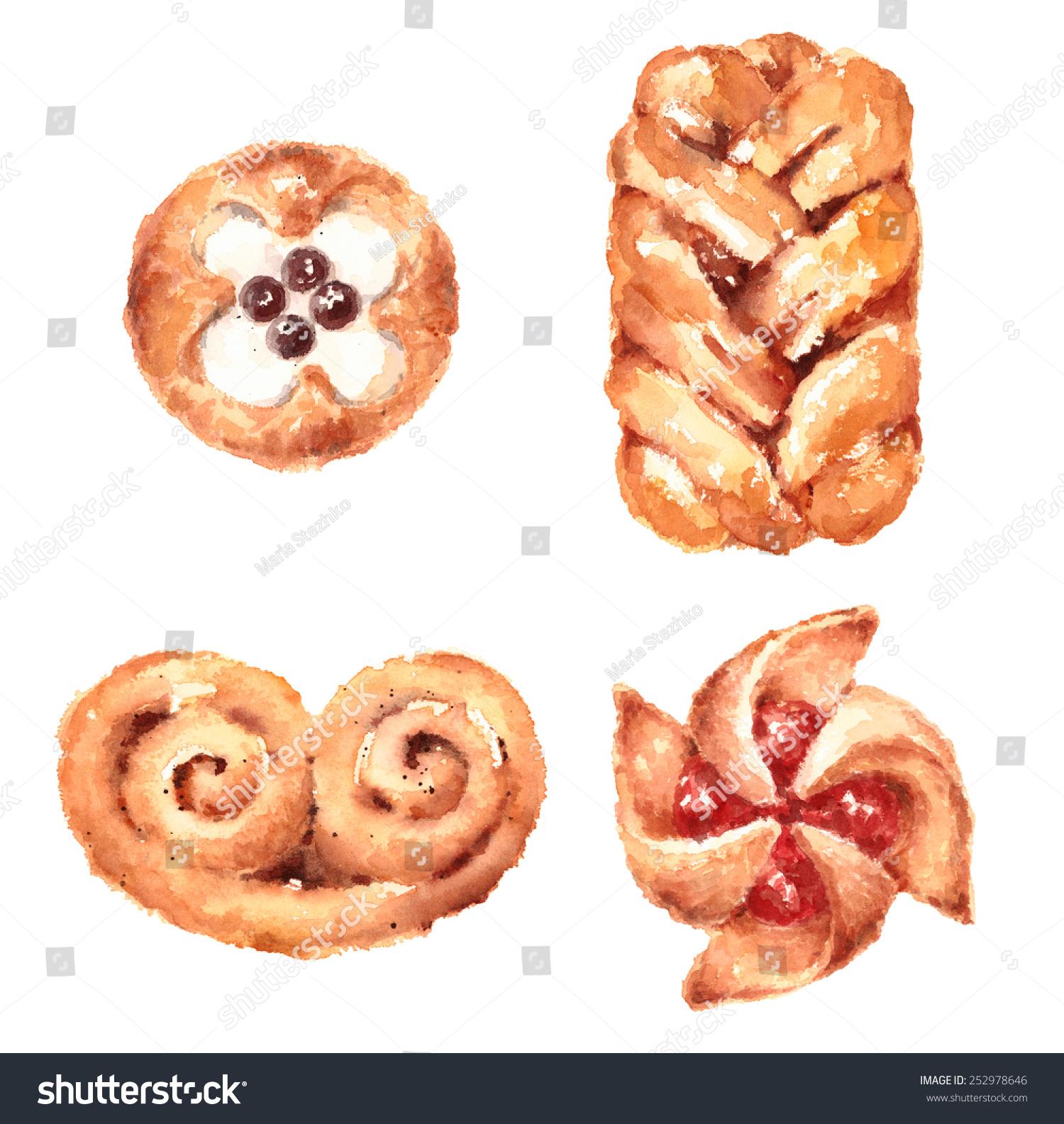 水彩糕点食品插画手绘孤立在白色背景-食品及饮料