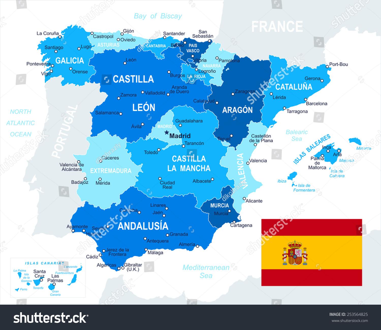 西班牙————说明西班牙地图和地图,国旗国旗-下一层高度详细的矢量