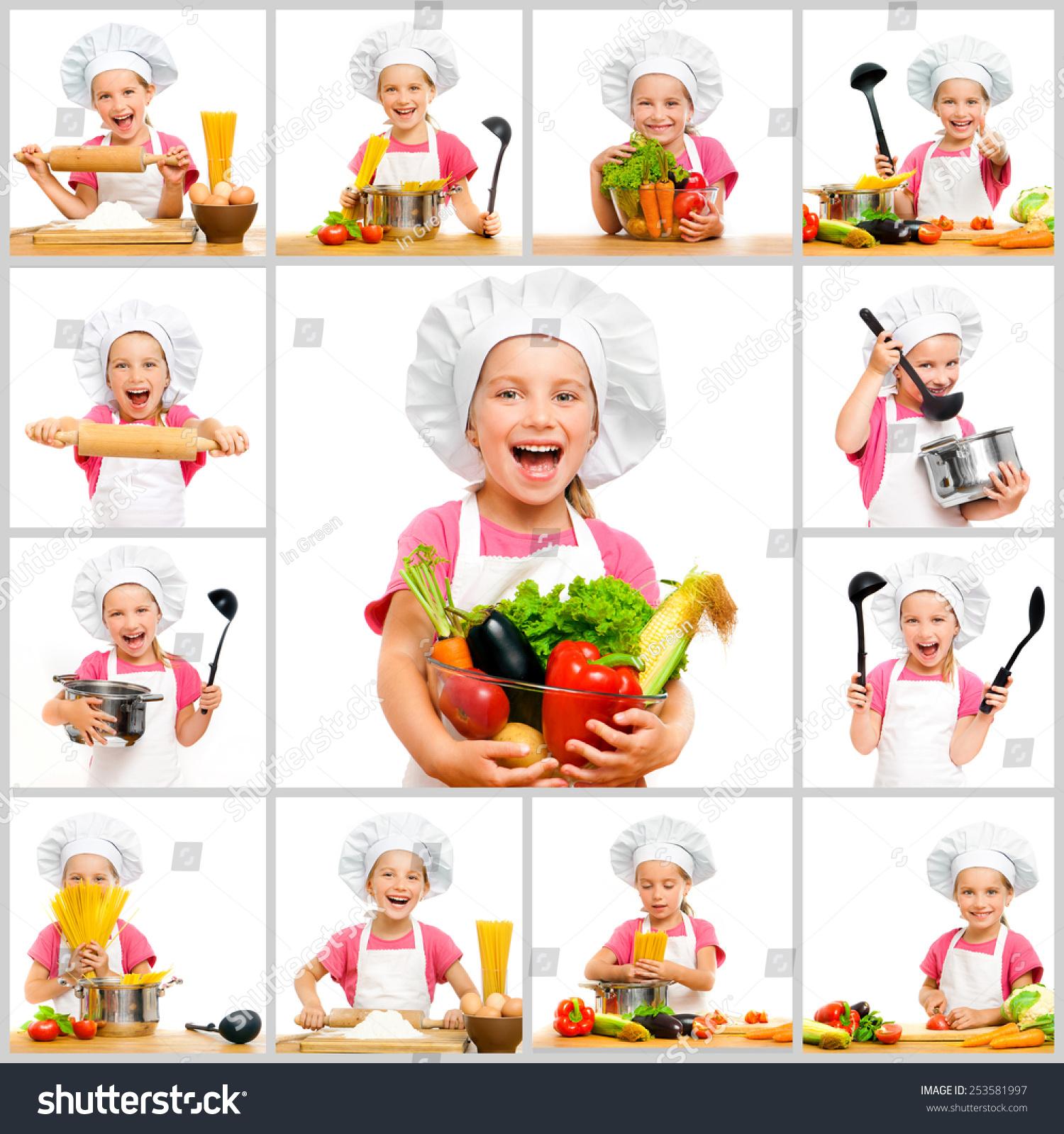 拼贴画的可爱的小女孩在厨师的帽子与水果和蔬菜在里