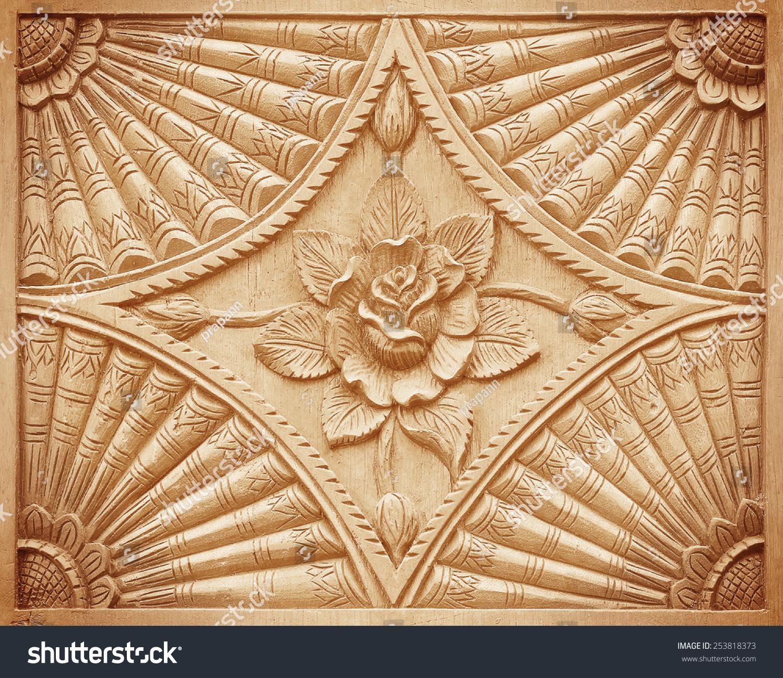 的花朵雕刻在木头背景模式-背景/素材