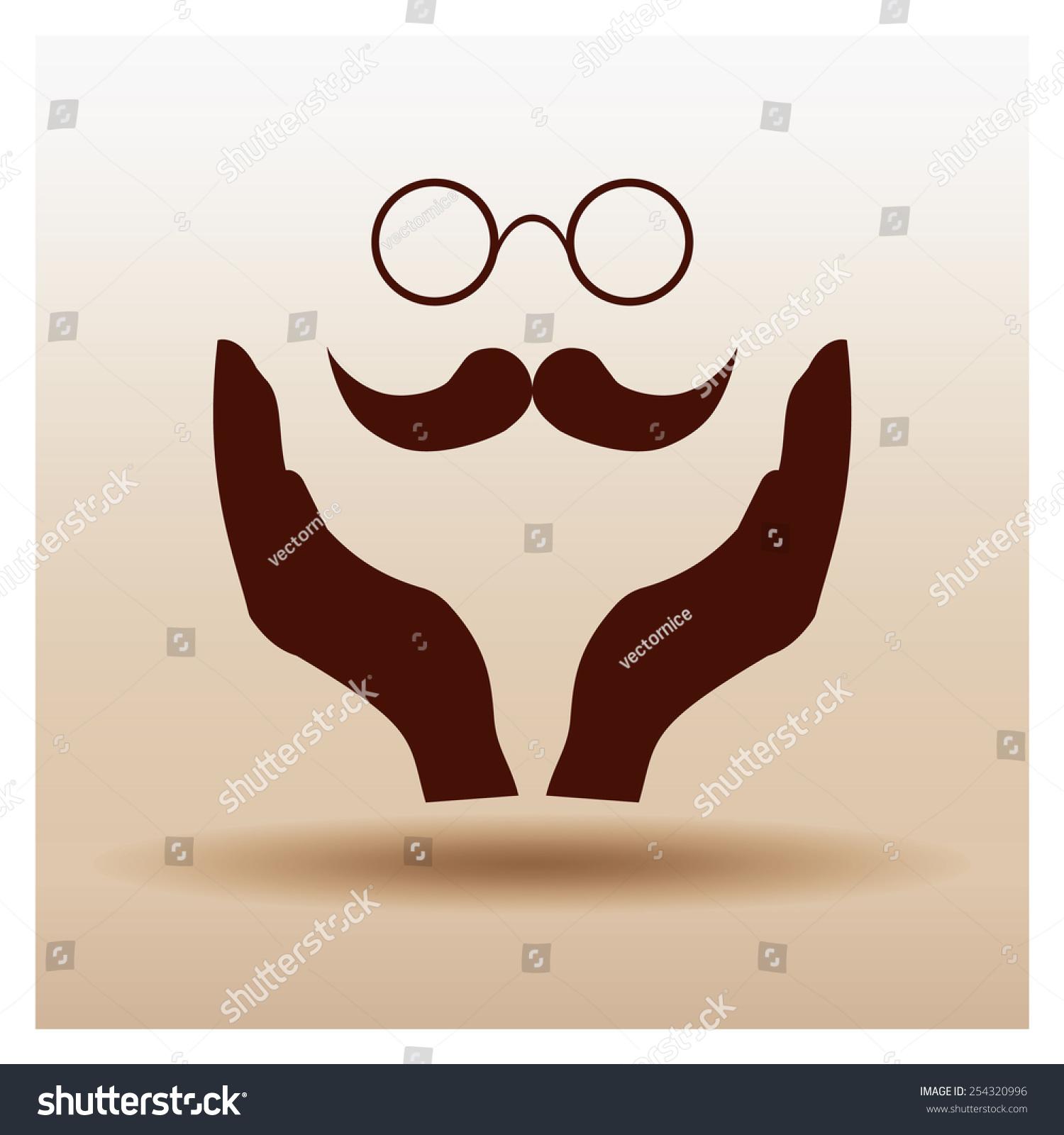 胡子和眼镜图标,矢量图