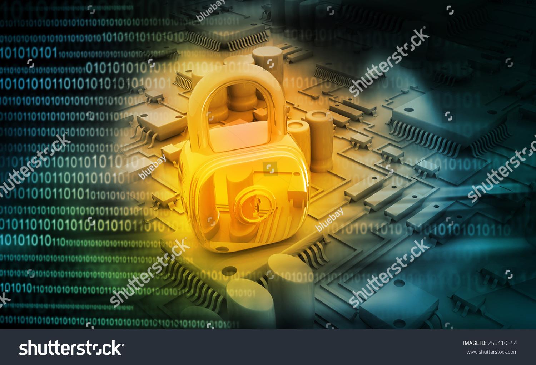数字设计的电路板锁关闭-背景/素材,科技-海洛创意()