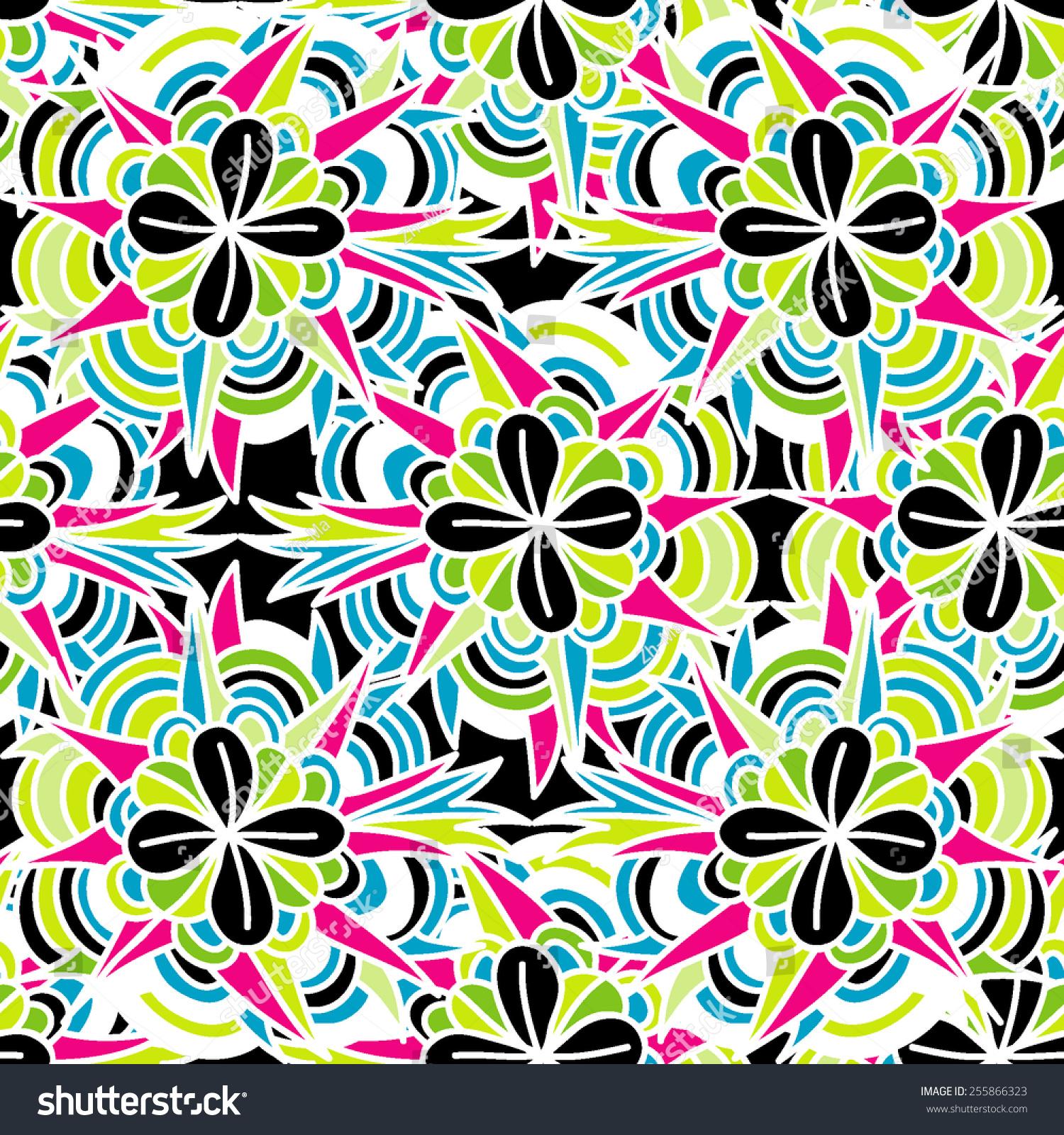 花卉矢量彩色背景.无缝的手绘图案.抽象的动机