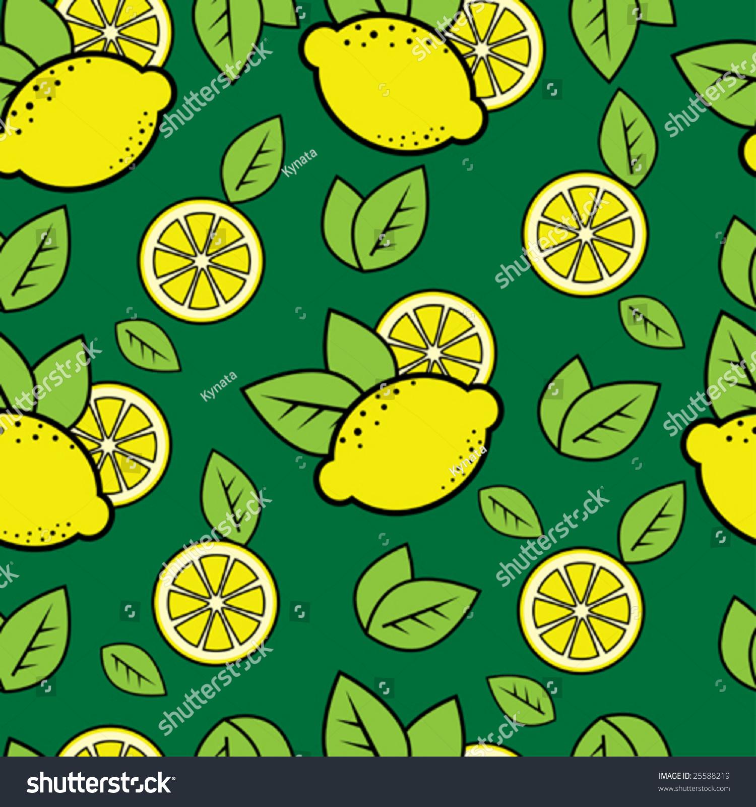 无缝的绿色模式与可爱的柠檬-背景/素材,插图/剪贴图