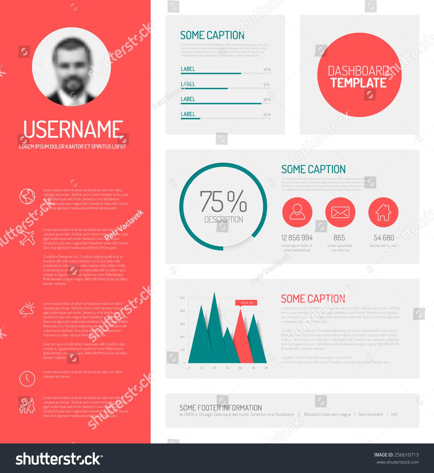 简单的概要文件指示板模板平面设计图形和图表-背景