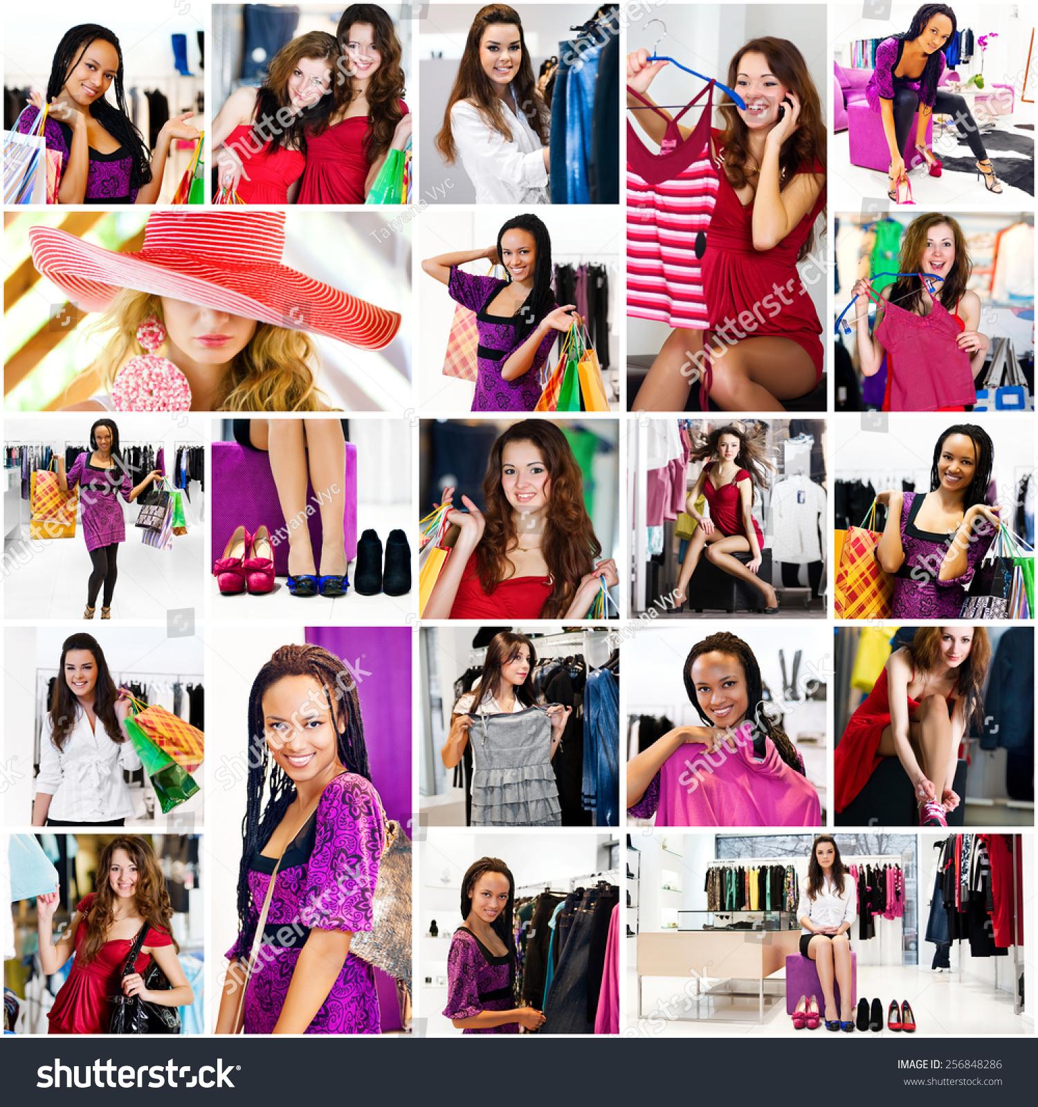 照片拼贴画的主题购物-人物,美容/时装服饰-海洛创意