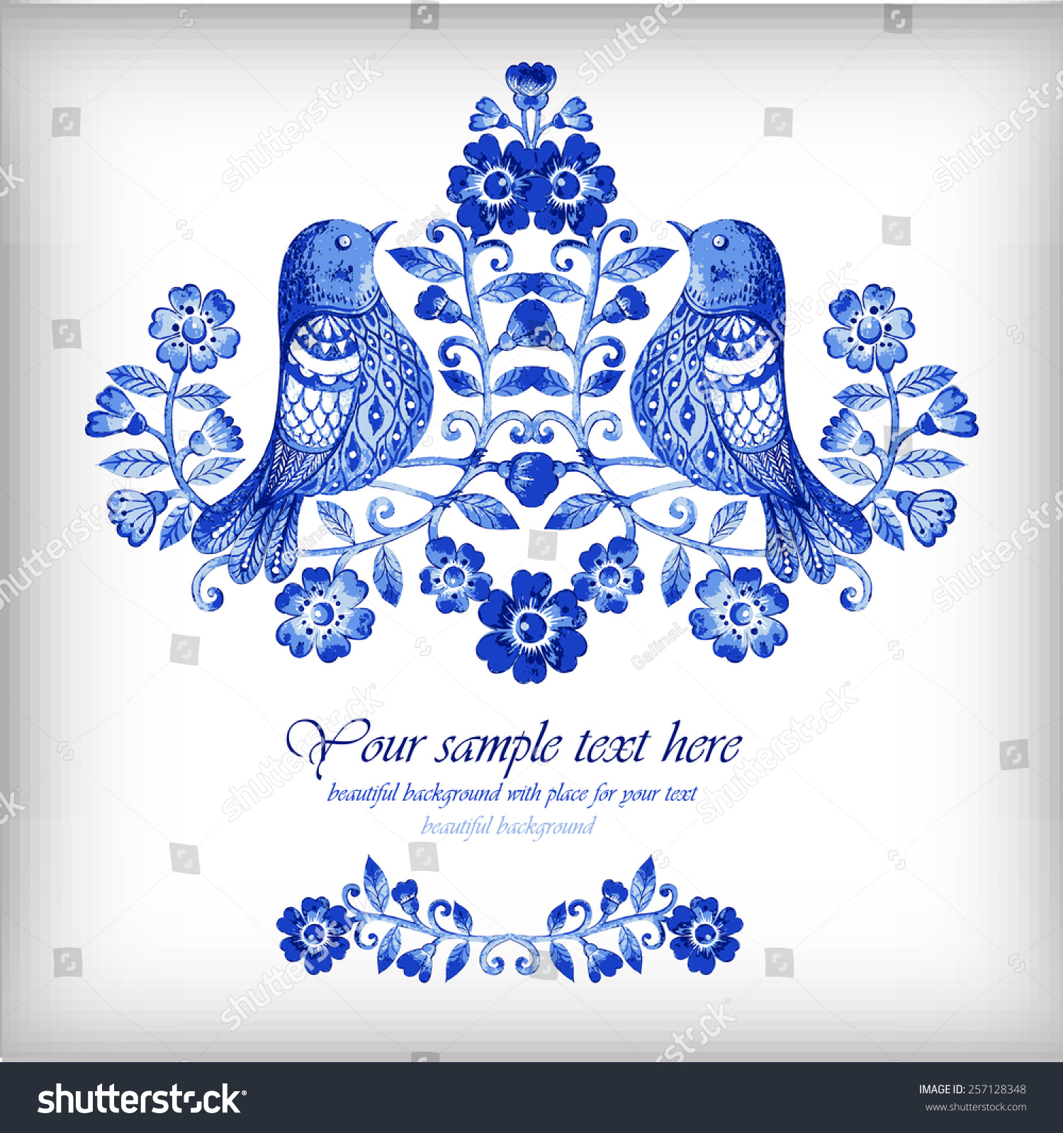 向量的水彩背景与蓝色的花和鸟-背景/素材,抽象-海洛