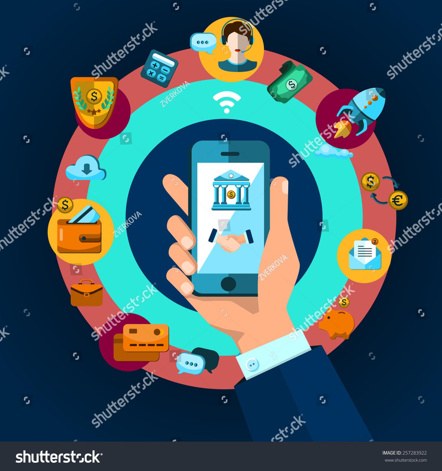 移动银行,金融,商业图标平面设计.应用程序图标,业务