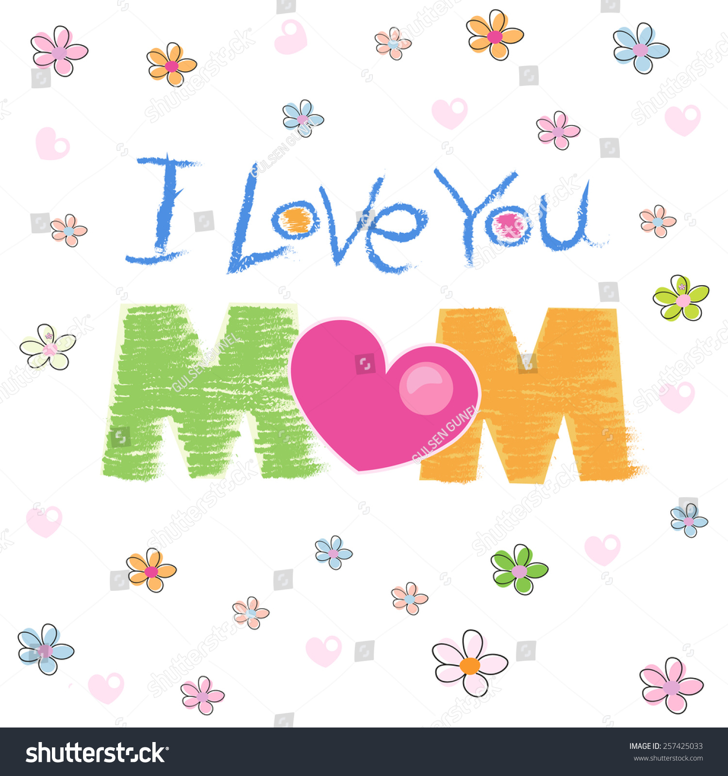 我爱你妈妈贺卡手绘插图