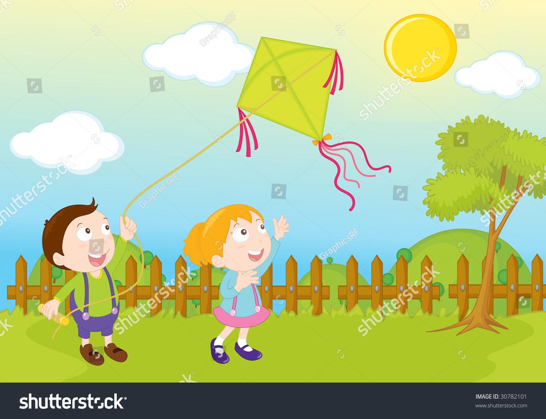 花园公园插图现场放风筝-动物/野生生物,插图/剪贴图