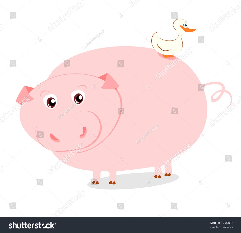 有趣的矢量插图描绘一个猪小鸟-动物/野生生物