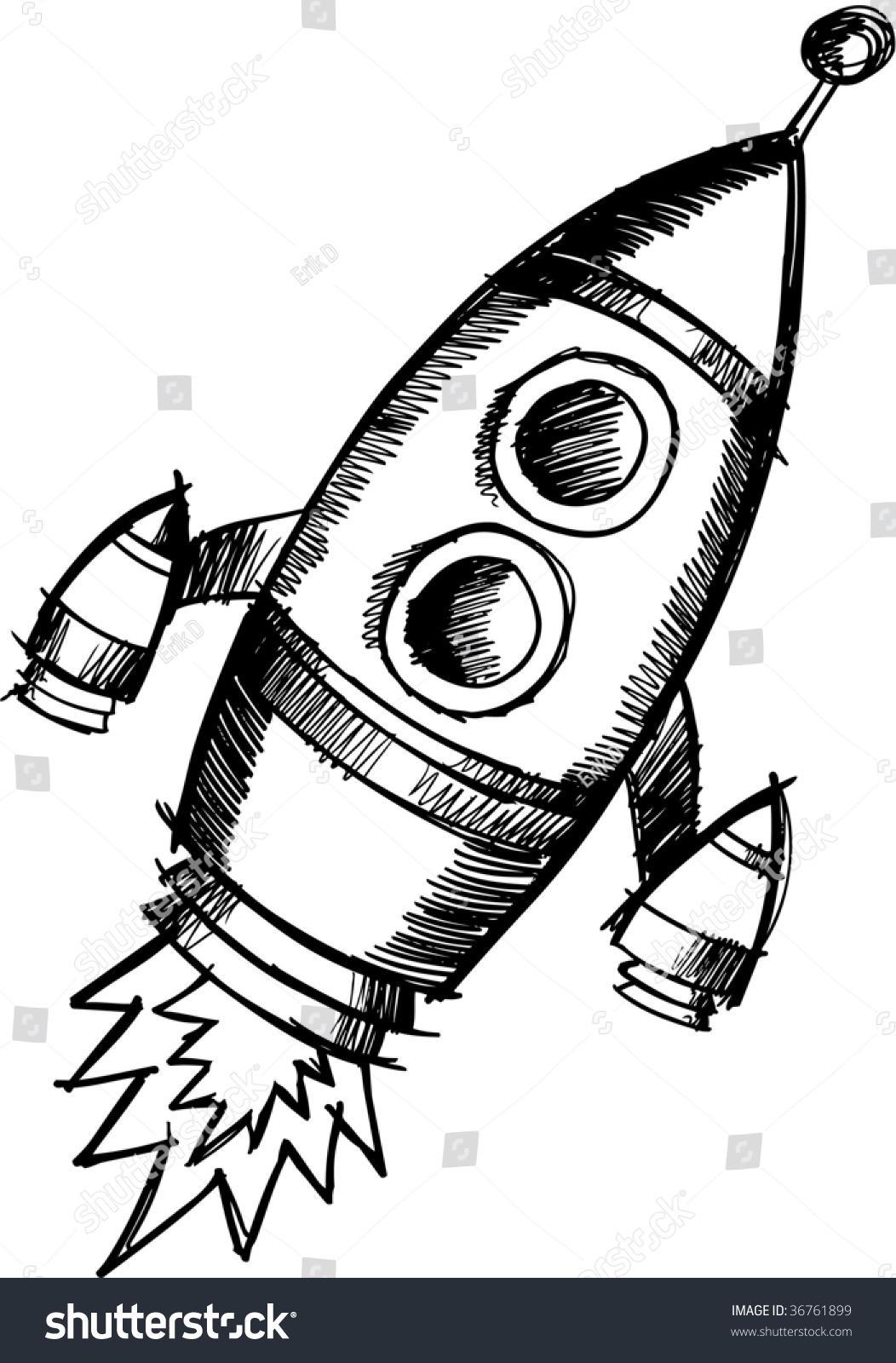 火箭彩色铅笔画