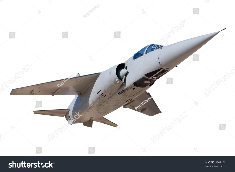 一架喷气式战斗机孤立在白色的