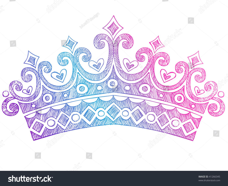 手绘 素描皇室公主 女王皇冠 笔记本涂鸦矢量插图图片