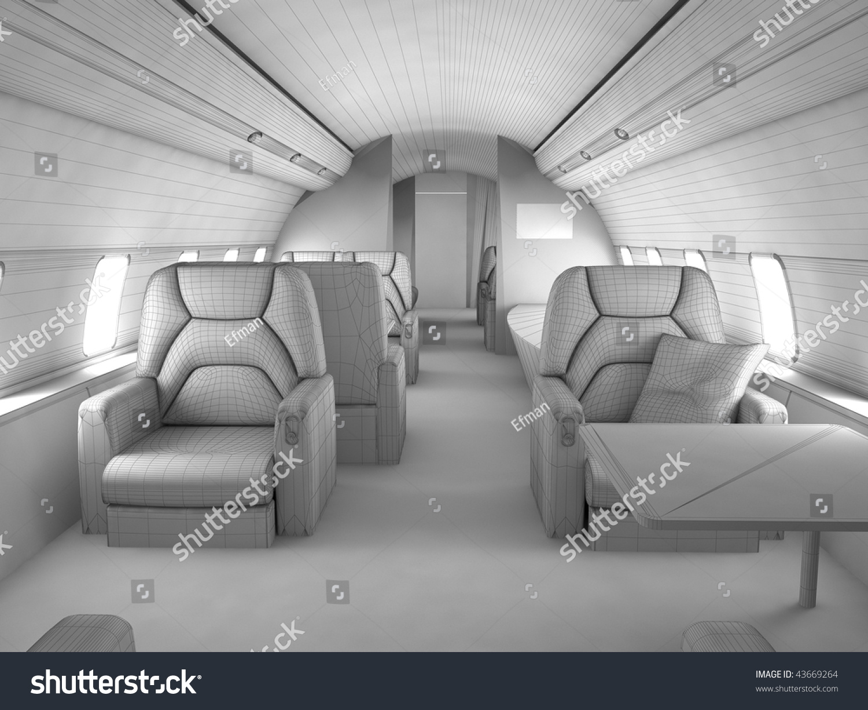 三维模型与定制私人飞机内部设计的计划