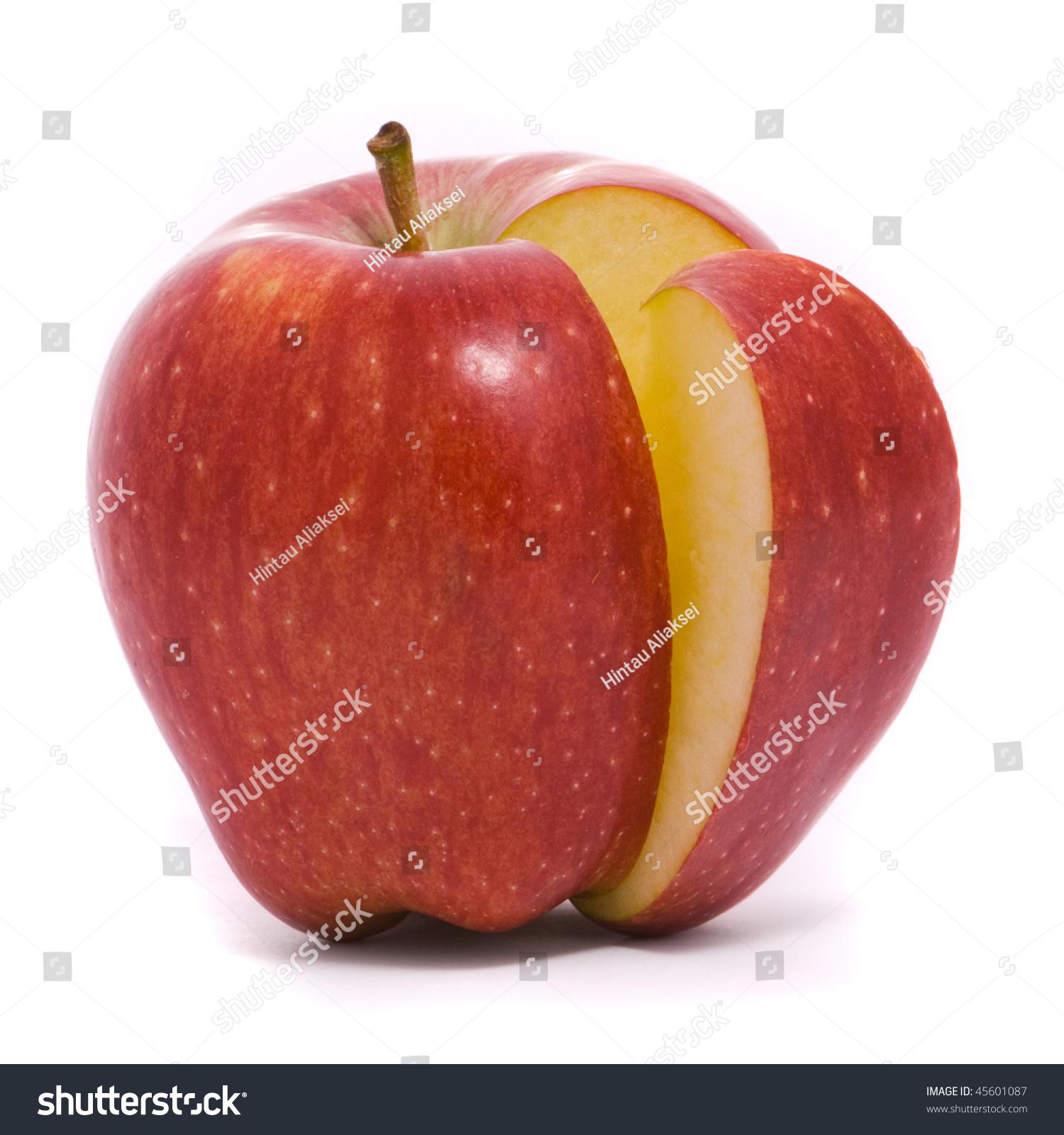 白底切红熟苹果-食品及饮料,物体-海洛创意(hellorf)