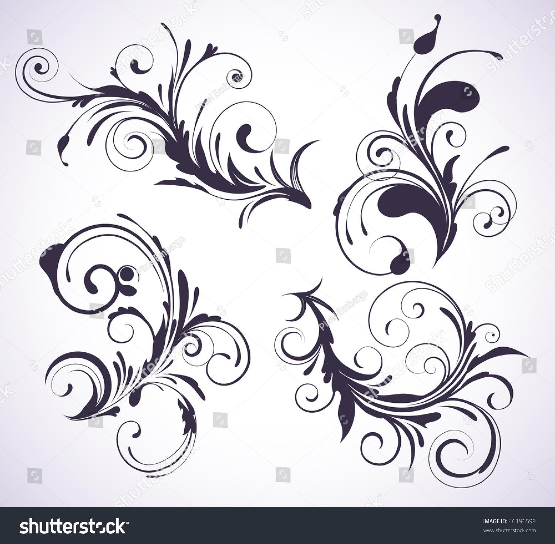 矢量图的四个旋转兴隆装饰花卉元素