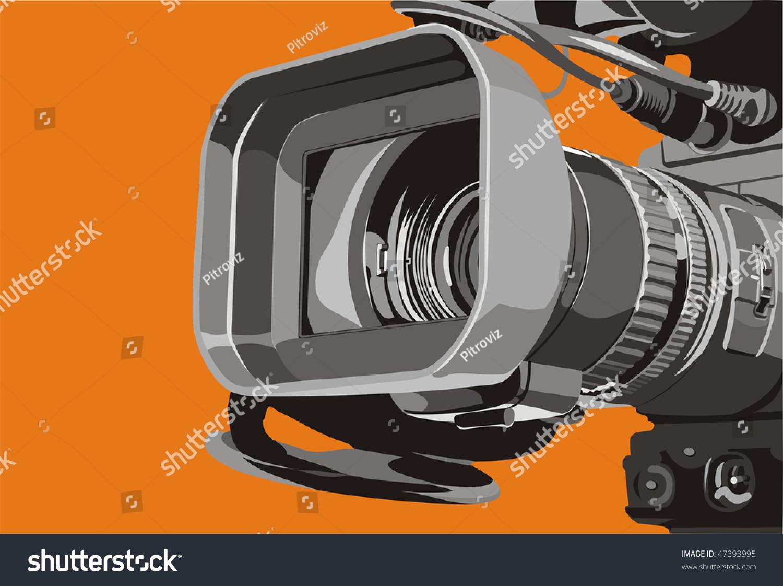 电视摄像机在工作室的艺术插图