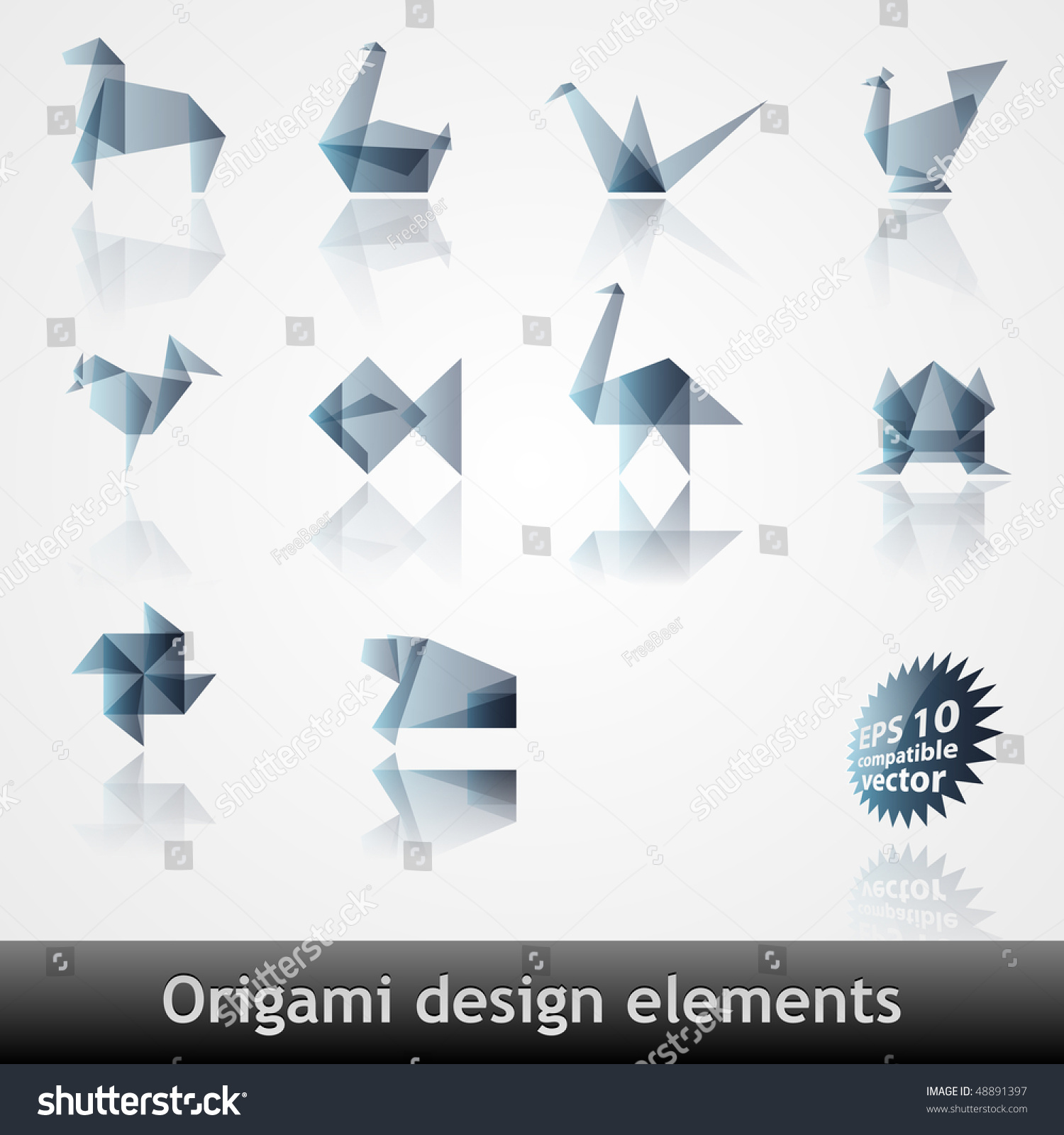 折纸设计元素eps10兼容向量-物体,插图/剪贴图-海洛()