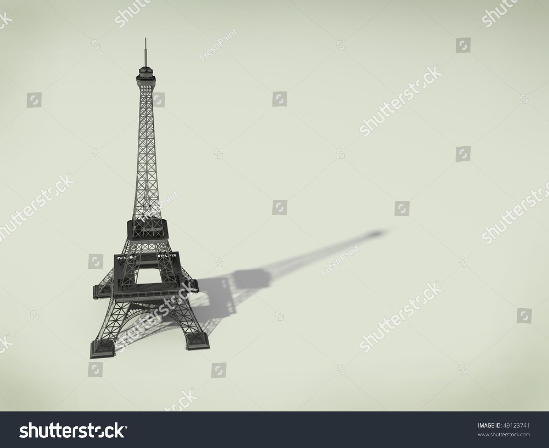 在巴黎埃菲尔铁塔.3 d米色背景图