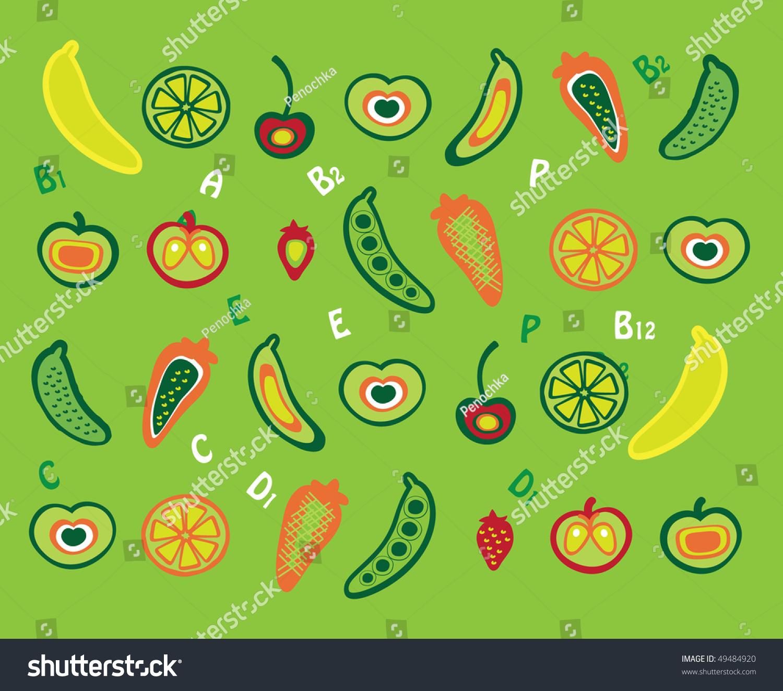 背景,水果和蔬菜