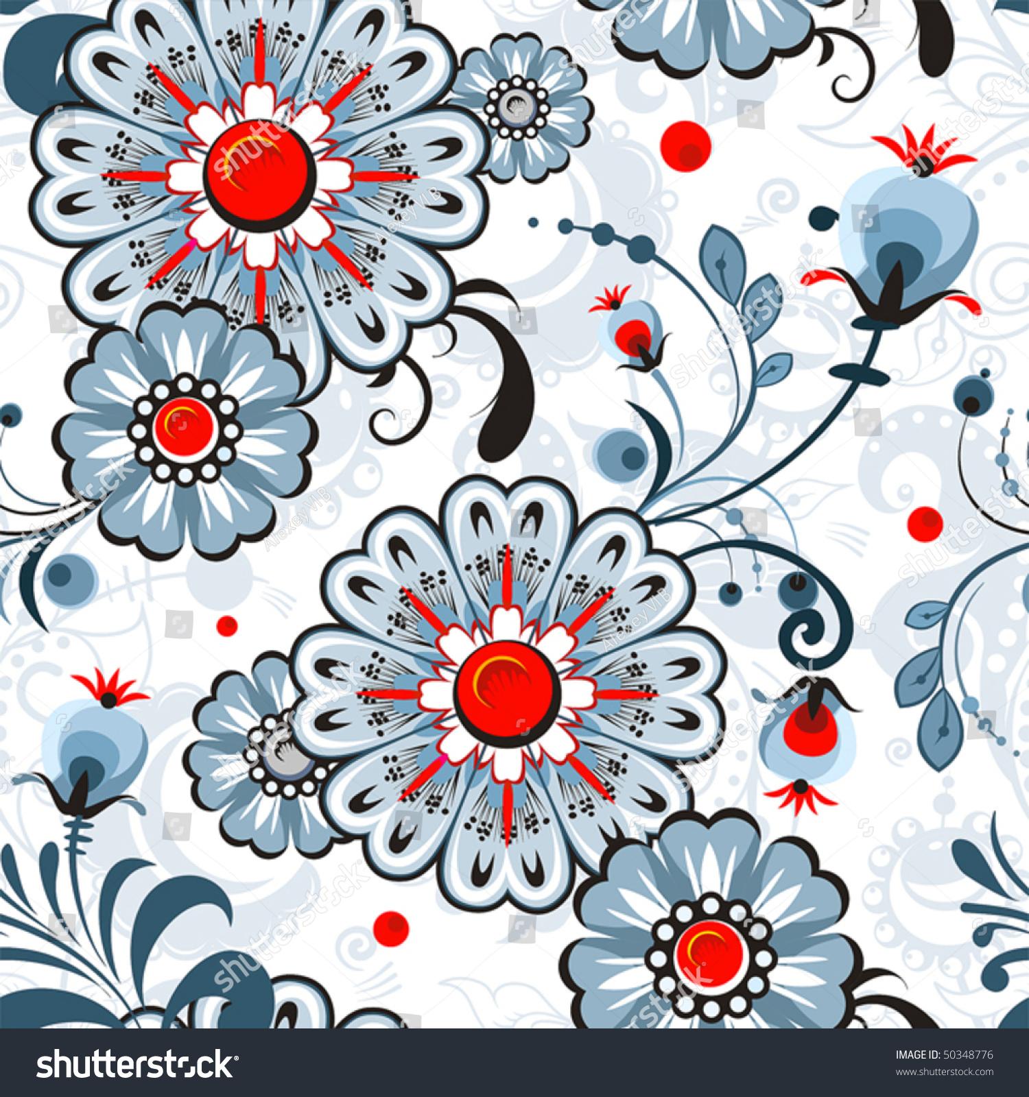 抽象的优雅无缝的花卉图案.美丽的花矢量插图纹理