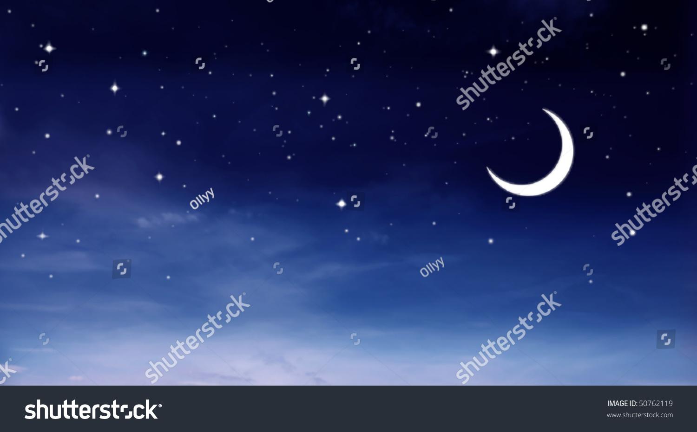夜空与月亮和星星-自然,插图/剪贴图-海洛创意()-中国