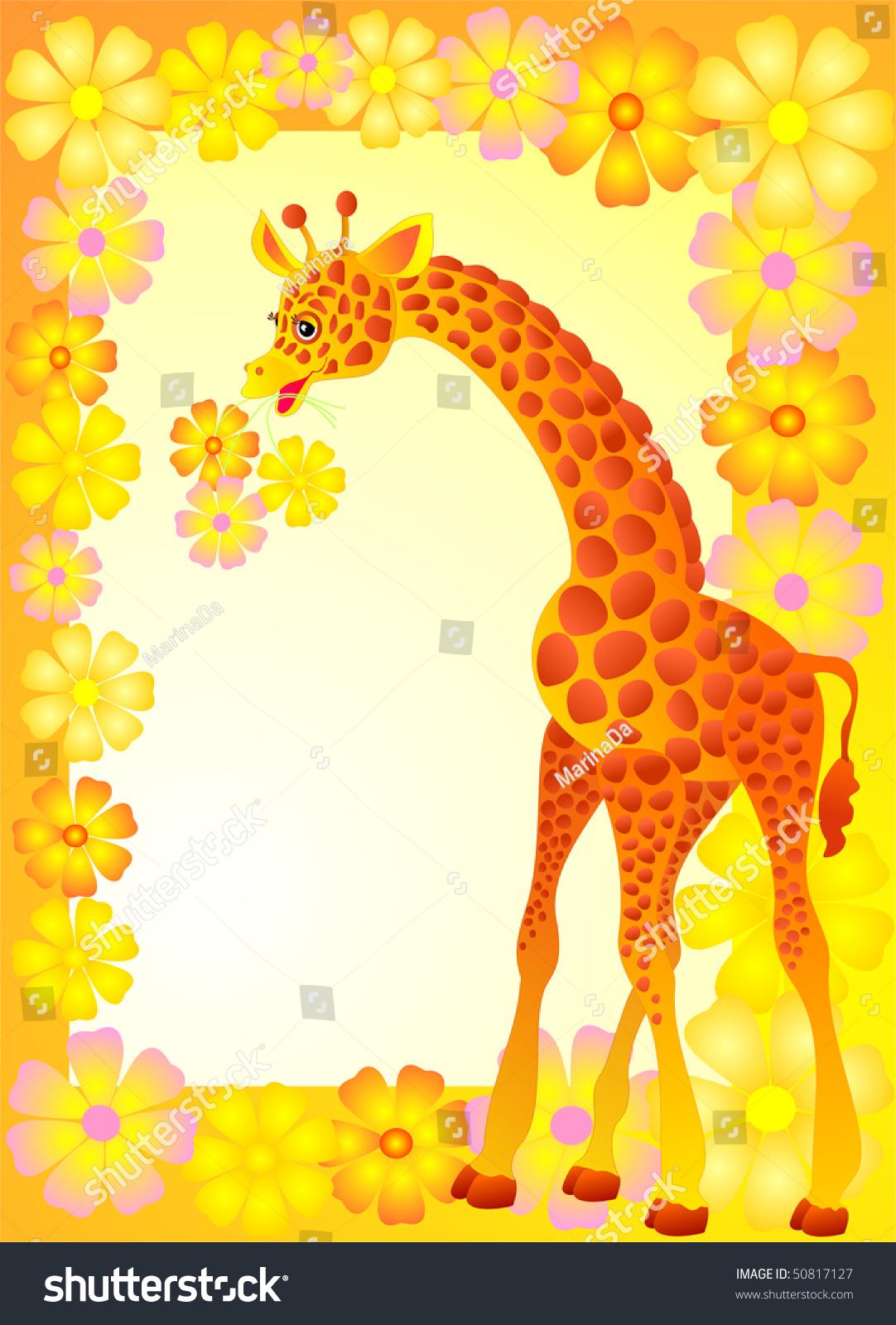生日背景,卡通小长颈鹿