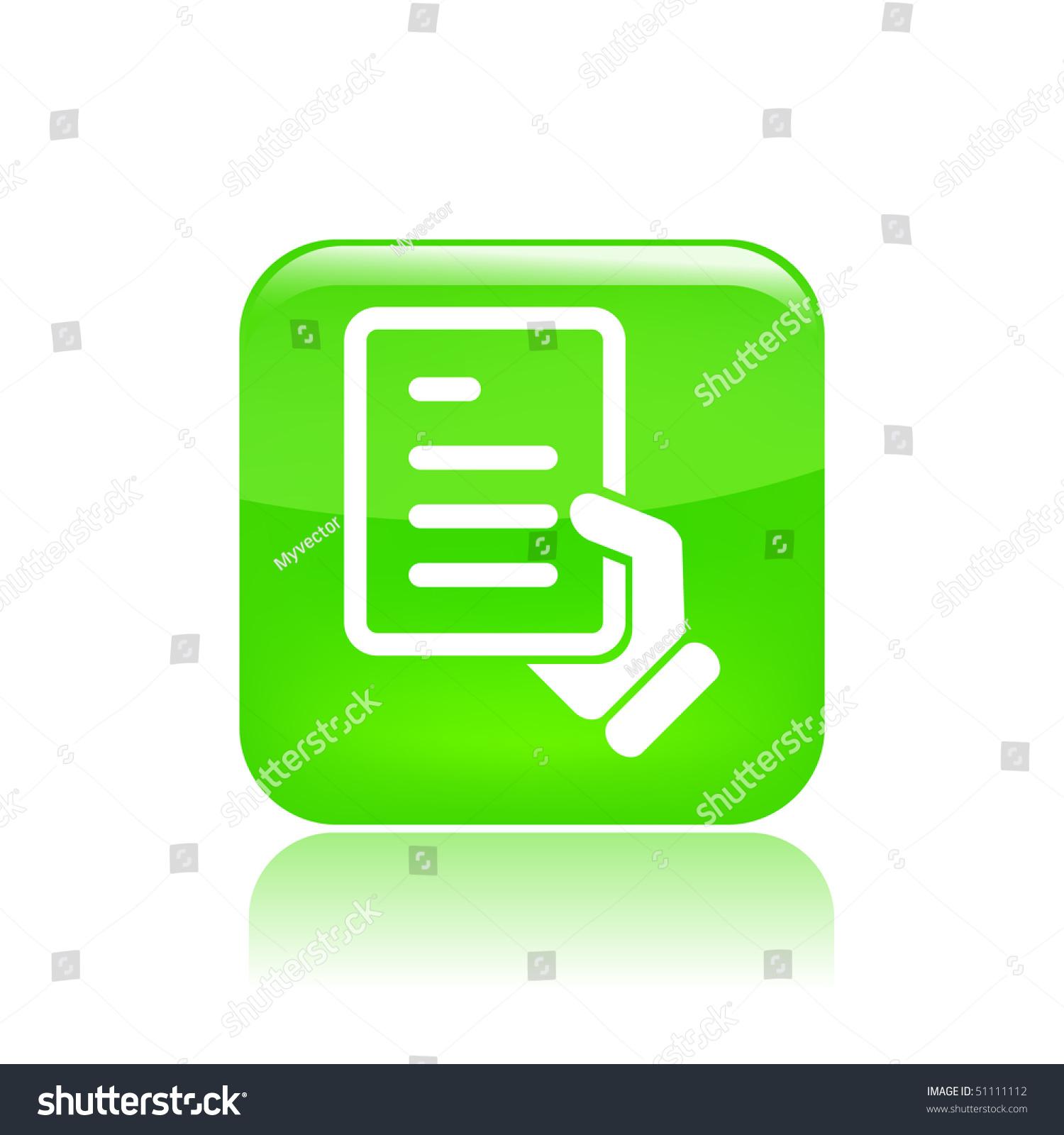 现代时尚绿色图标矢量插图描绘一个文档