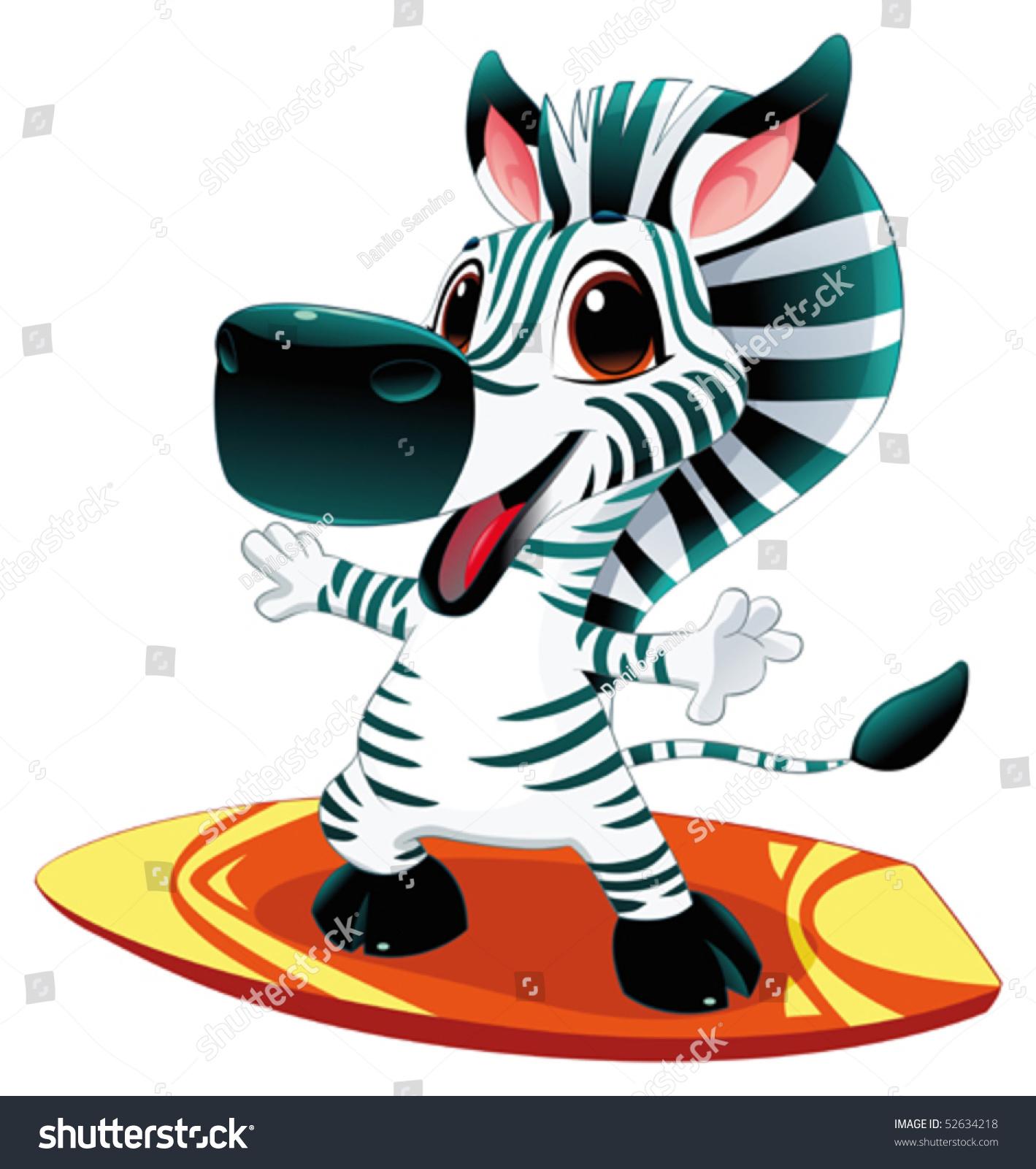 斑马和冲浪.有趣的卡通和矢量字符-动物/野生生物,/图