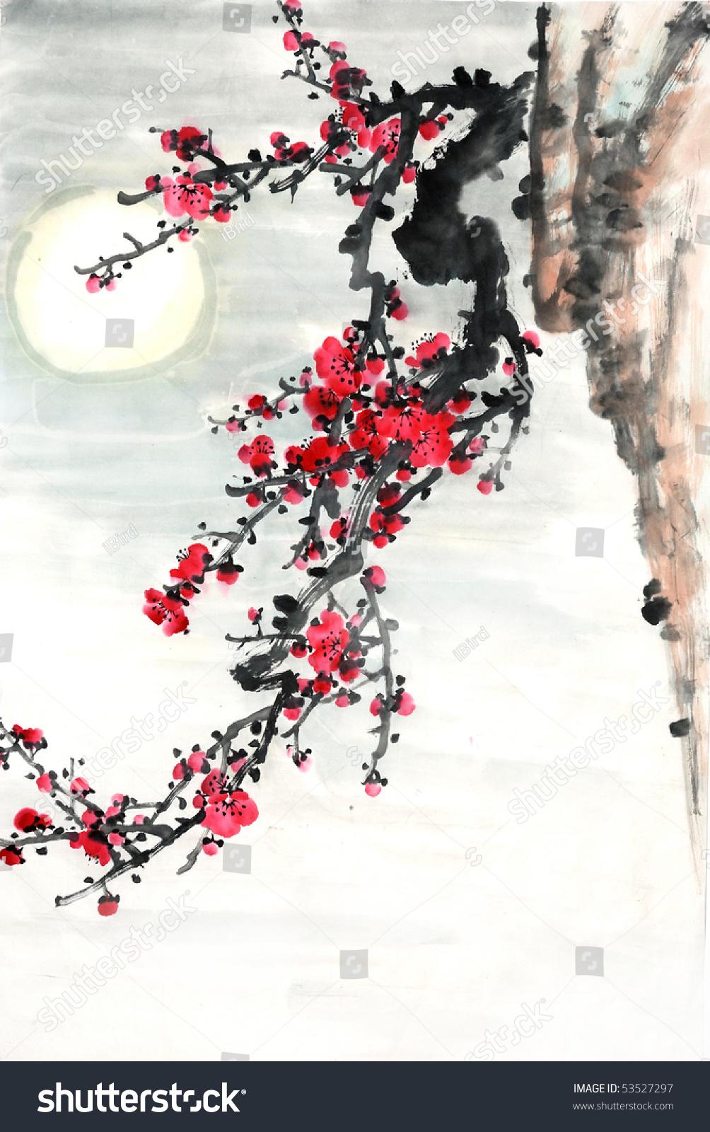 梅花与月亮传统中国绘画.-艺术,插图/剪贴图-海洛创意图片