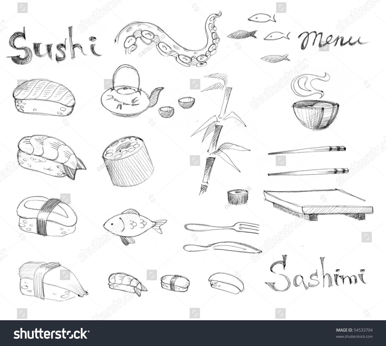 涂鸦集——传统的日本寿司-食品及饮料,插图/剪贴图