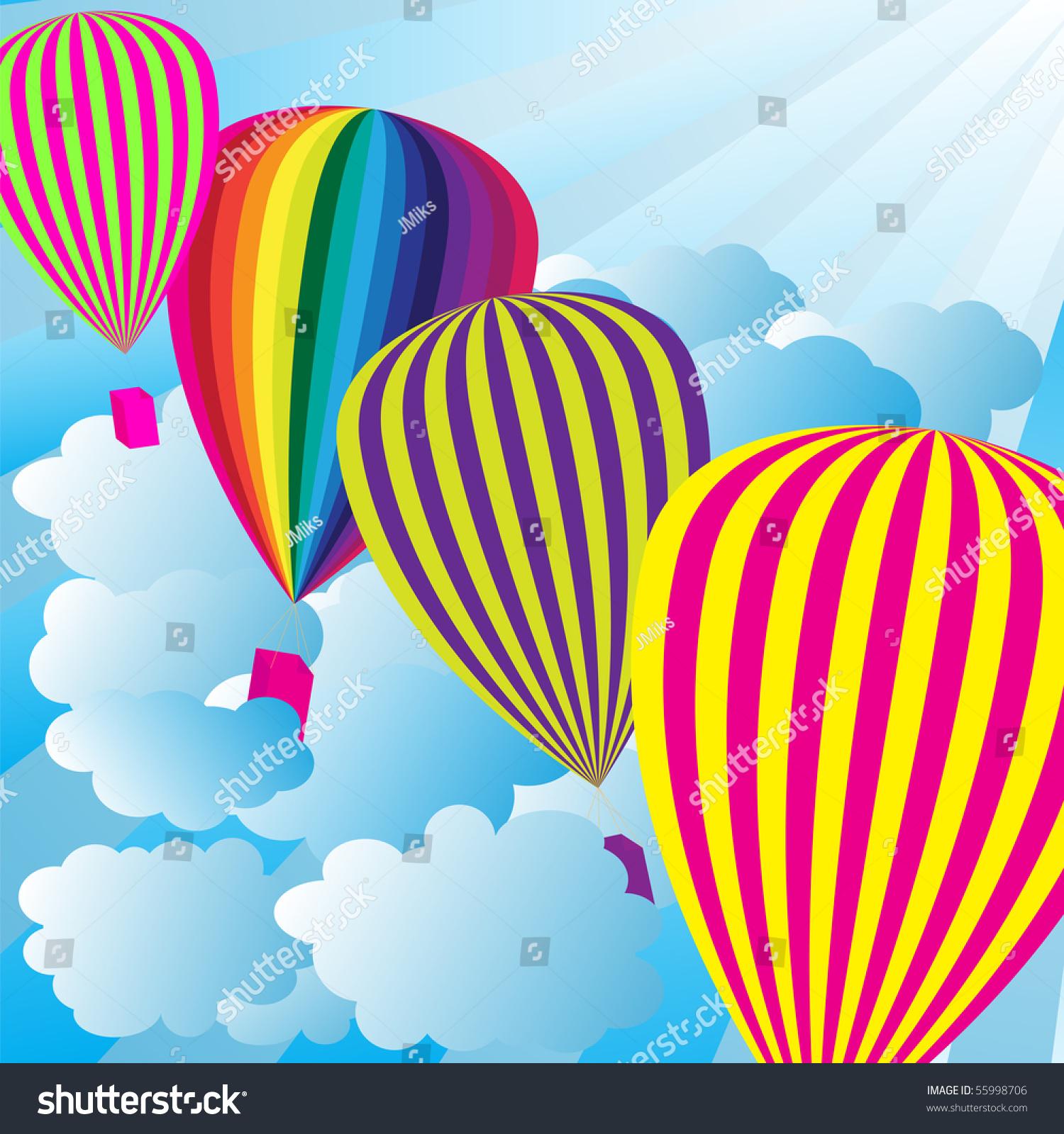 夏天的天空热气球-背景/素材,插图/剪贴图-海洛创意()图片