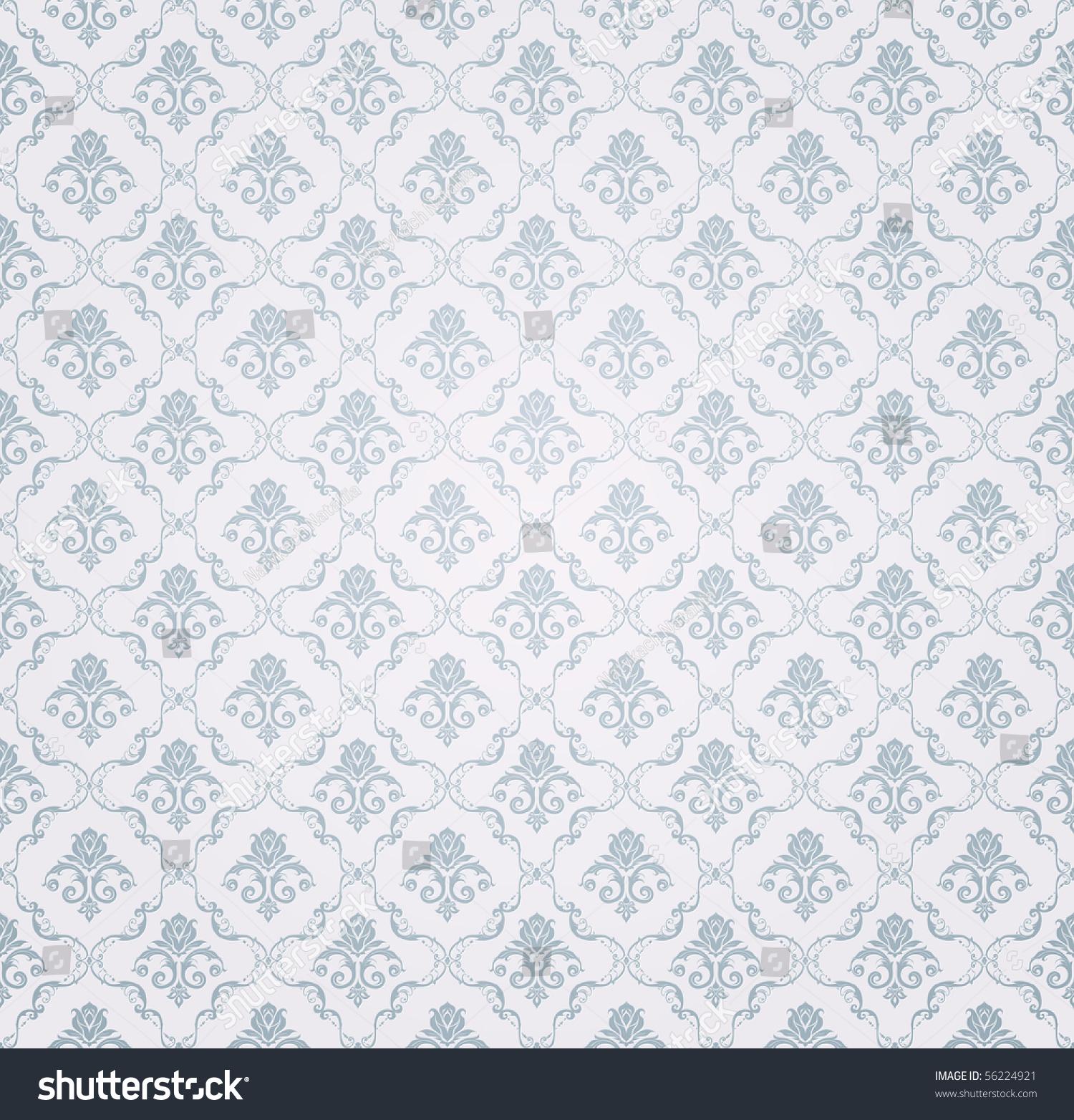 蓝色无缝壁纸图案,向量-背景/素材