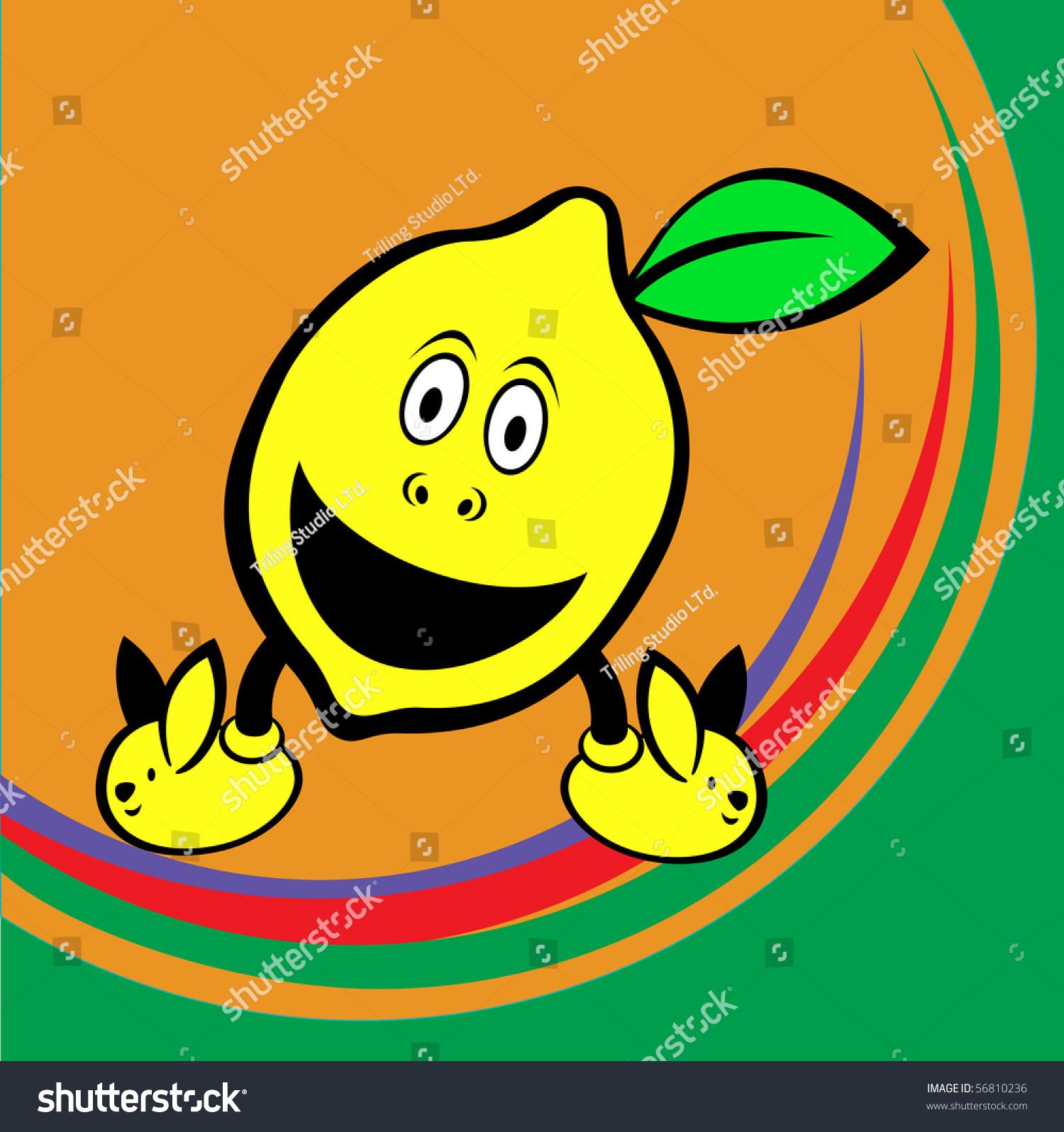 插图的有趣和可爱的柠檬-背景/素材