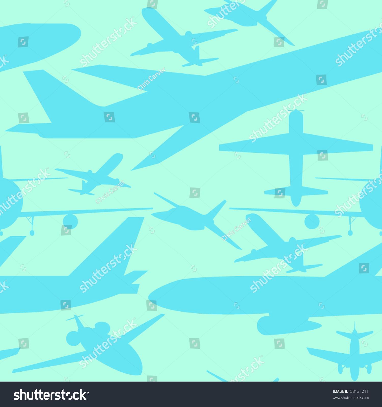 飞机无缝矢量图形-背景/素材