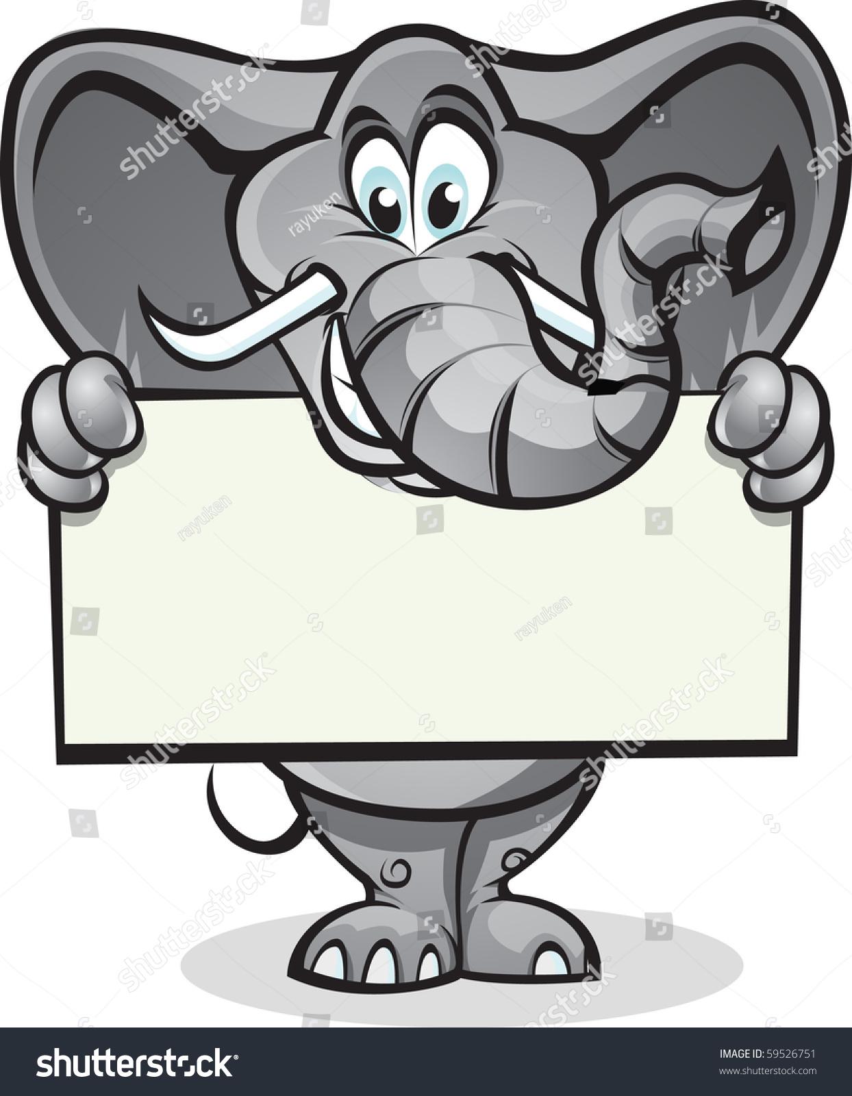 可爱的大象举起一个信号.分为层容易编辑.-动物/野生