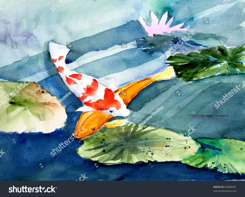 锦鲤在花园池塘,原始的水彩画-公园/户外,动物/野生