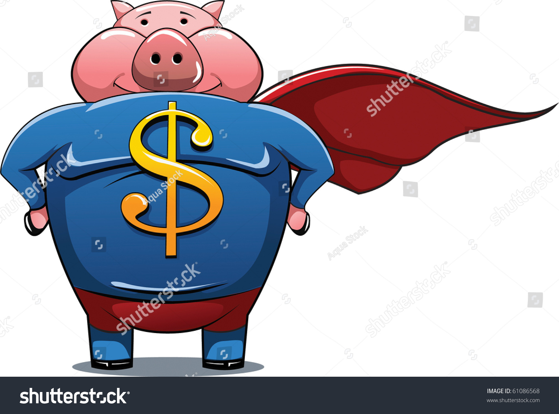 超级英雄猪与美元符号的衬衫.-动物/野生生物,插图/图