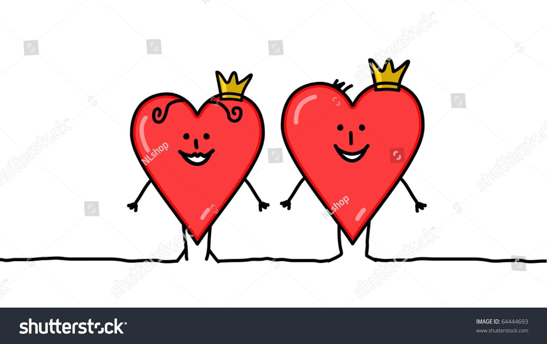 手绘卡通人物——红心国王和王后-插图/剪贴图