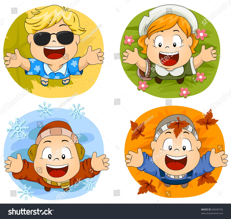 代表四个季节的可爱的小小孩-插图/剪贴图