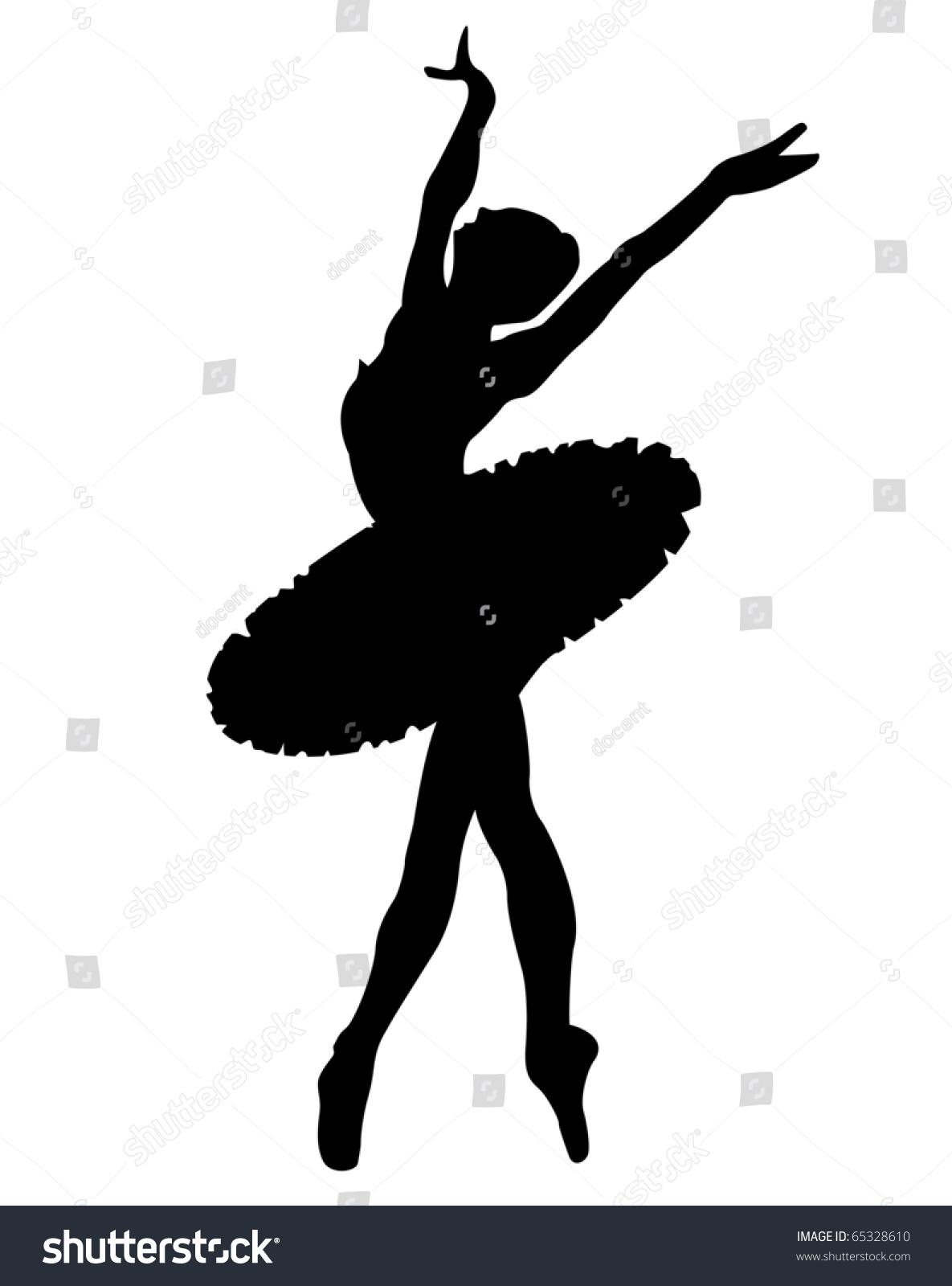 白色背景黑色剪影的芭蕾舞演员-人物,插图/剪贴图-()