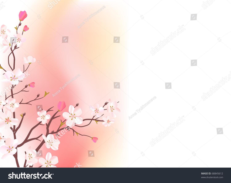 开花的树的浅粉色背景-假期,插图/剪贴图-海洛创意()