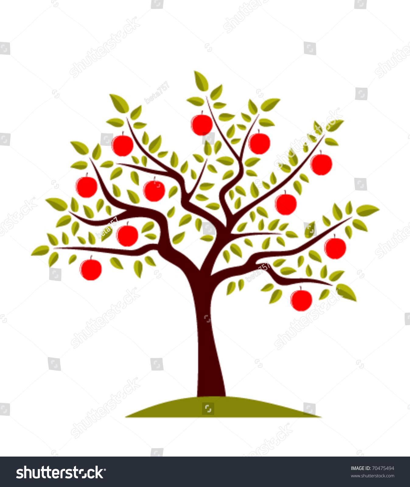 向量苹果树在白色背景上-插图/剪贴图,交通运输-海洛