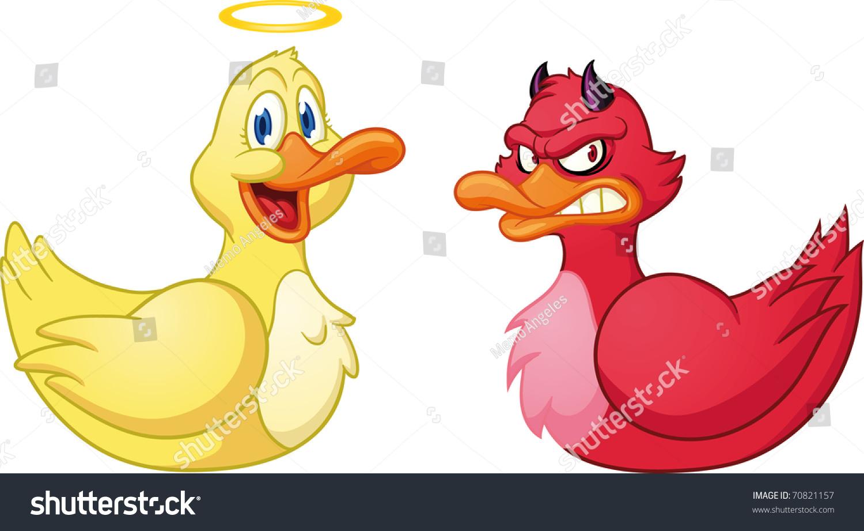 可爱的卡通邪恶和良好的鸭子