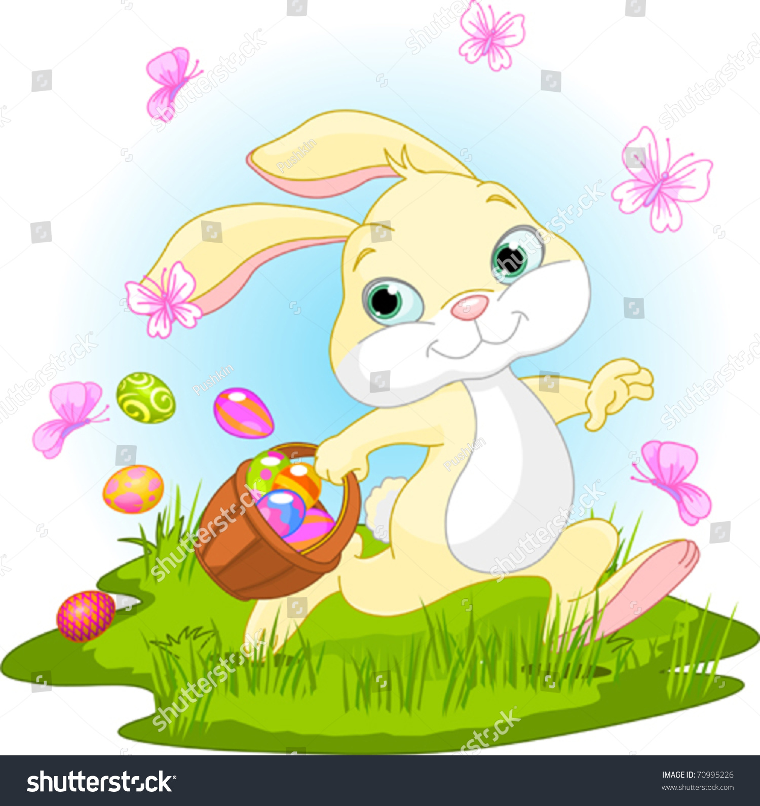 可爱的复活节兔子藏鸡蛋-假期,插图/剪贴图-海洛创意