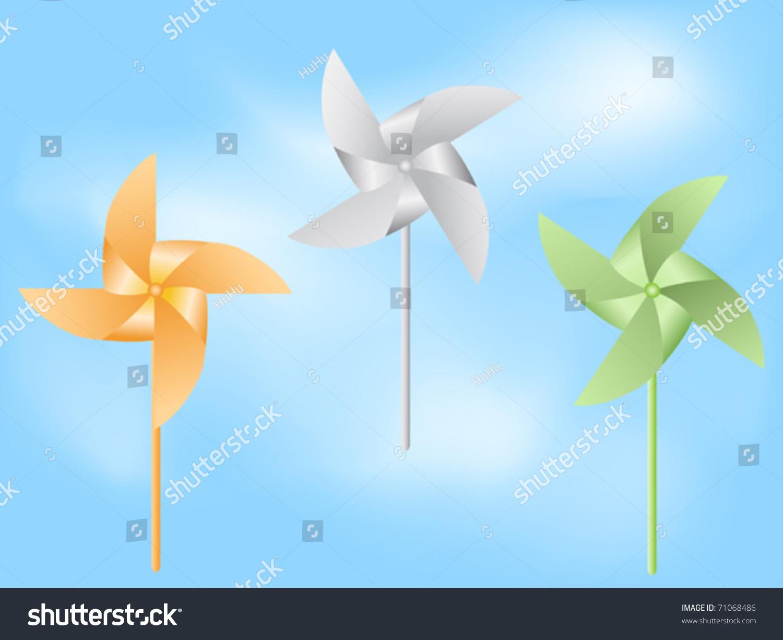 纸风车在蓝天-公园/户外,插图/剪贴图-海洛创意()-合.